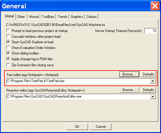 Types of referenced text files from syscad will also be in textpad